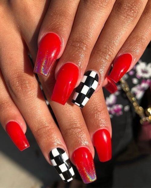 Bright Red With Checkers