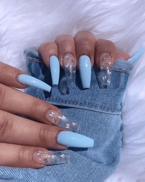 Light Blue With Butterflies Nail Art Design