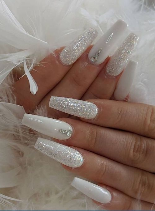 White and Silver Glitter With Rhinestones